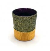 Teelicht mit Goldfaden lila