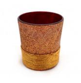 Teelicht mit Goldfaden rot