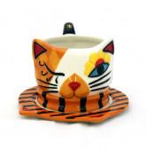 Katzen Tasse mit Unterteller